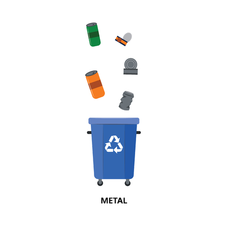Vector recycle bin for trash separtion. Metal waste garbage container with tin cans, cola cans. Dump recycling concept for environmental issues related design. Isolated illustration Banque d'images - 114045927