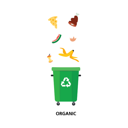 Vector recycle bin for trash separtion. Organic waste garbage container with banana, apple watermelon peel, meat bones. Dump recycling concept for environmental related design. Isolated illustration