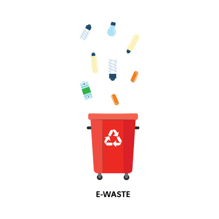 Vector recycle bin for trash separtion. E-type waste garbage container with light bulbs, batteries. Dump recycling concept for environmental issues related design. Isolated illustration Ilustrace