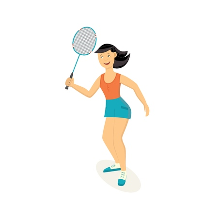 Vector sportswoman playing badminton holding racquet smiling. Beautiful sportive woman working out with racket. Female athletic character and healthy lifestyle. Isolated illustration