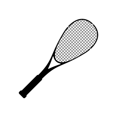 Vector squash racquet silhouette black icon. Ground game equipment. Professional sport, classic tennis racket for official competitions and tournaments. Isolated illustration Illustration