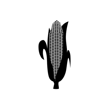 Vector corn cob black silhouette icon. Organic food, harvest cereal for agricultural product design. Natural heatlhy food full of vitamins and nutritions. Isolated illustration