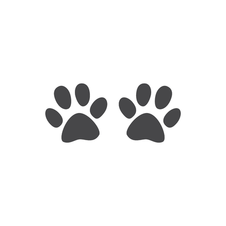 Animal paw track vector illustration isolated on white background - monochrome silhouette of cat or dog footprint. Pair of cute black print of kitten or puppy trace shape. Archivio Fotografico - 114046249