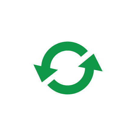 Zero waste and recycling symbol with green arrows in circle form isolated on white background - vector illustration of simple flat sign of eco friendly and organic materials concept.