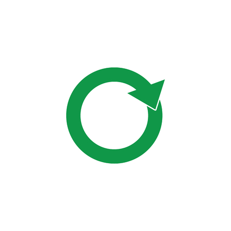 Zero waste and recycling symbol with green arrows in circle form isolated on white background. Vector illustration of simple flat sign of eco friendly and organic materials concept.