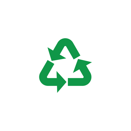 Vector illustration of recycle and zero waste symbol with green arrows in triangle form isolated on white background - eco friendly materials and environmental protection concept. Banco de Imagens - 114046255