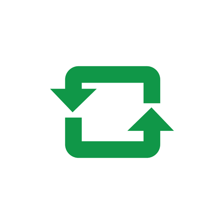 Recycle and reuse symbol with green arrows in rectangular form isolated on white background. Using of eco friendly biodegradable materials and zero waste concept in vector illustration.