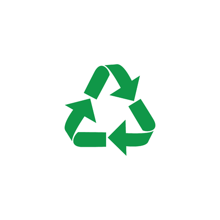 Vector illustration of recycle and zero waste symbol with green arrows in form of triangle isolated on white background. Eco friendly materials and global environmental protection concept.