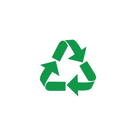Vektor-Illustration von Recycling- und Zero-Waste-Symbol mit grünen Pfeilen in Form eines Dreiecks isoliert auf weißem Hintergrund. Umweltfreundliche Materialien und globales Umweltschutzkonzept.