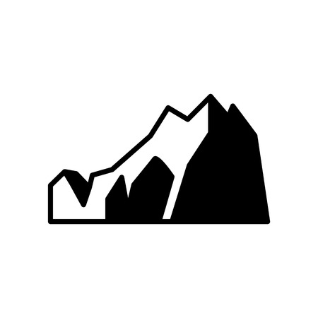 Vector abstract mountain rock black silhouette icon. Natural terrain element for graphic design. Landscape decoration object, symbol of climbing, extreme sports and adventure. Isolated illustration