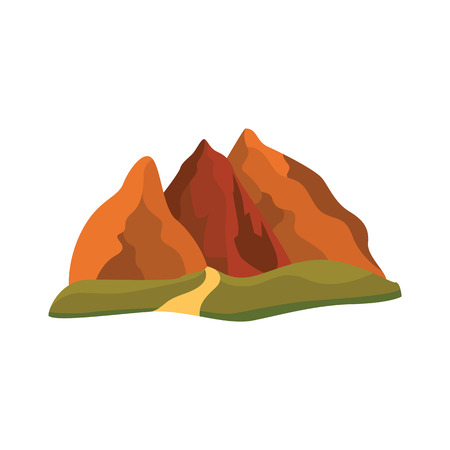 Vector abstract mountain rock icon. Natural terrain element for graphic design. Landscape decoration object, symbol of climbing, extreme sports and adventure. Isolated illustration