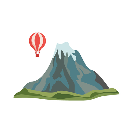 Vector abstract mountain rock with hot air balloon around icon. Natural terrain element for graphic design. Landscape decoration object, symbol of climbing, extreme sports and adventure illustration