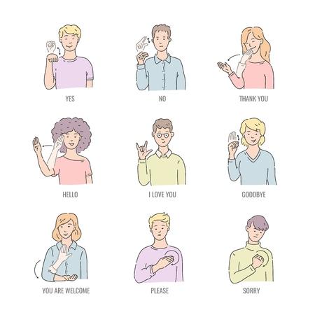 Palabras básicas en inglés para sordos en arte lineal aislado sobre fondo blanco - conjunto de ilustración vectorial de personas que usan gestos en lenguaje de señas americano. Colección educativa de deletreo manual. Ilustración de vector