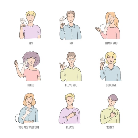 Deaf english basic words in line art isolated on white background - vector illustration set of people using gesture in american sign language. Educational collection of fingerspelling. Illustration