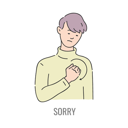 Vector man showing sorry deaf-mute sign language symbol. Smiling sketch male character and hand communication apology sign by his hand. Different social communication, basic word