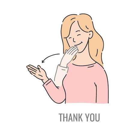 Mujer de vector mostrando gracias símbolo de lenguaje de señas sordomudo. Sonriente personaje femenino de bosquejo y signo de comunicación de la mano. Comunicación social diferente, palabra básica.