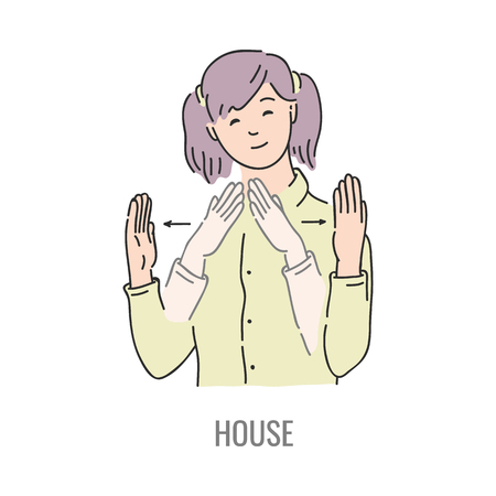 Vector woman showing house deaf-mute sign language symbol. Smiling sketch female character and hand communication sign. Different social communication, basic word