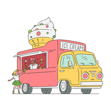 Vector sketch girl kid buying ice cream in ice cream van in vintage style. 90s food truck, mobile sweets shop vehicle. Retro snacks delivery car. Isolated illustration