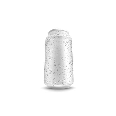 Lata de aluminio de vector con agua cae maqueta blanca para diseño de envases de bebidas frescas de cerveza, jugo o refresco. Recipiente metálico para bebidas gaseosas o alcohólicas sobre fondo aislado. Bebida refrescante en lata de metal.