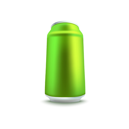 Blank green aluminum soda or beer can mockup in realistic 3d style. Isolated vector illustration of side view on empty tin for alcohol or fizzy drink branding and advertising. Ilustração