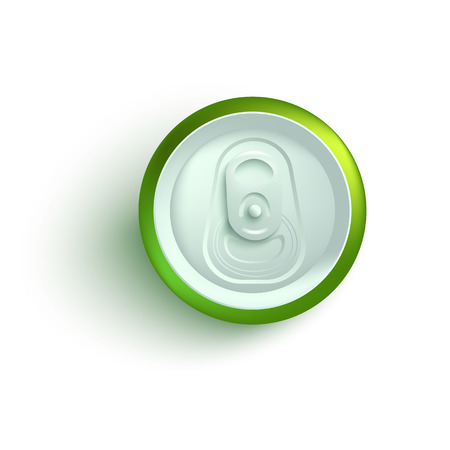 Top view of green aluminum soda or beer can mockup in realistic 3d style isolated on white background - vector illustration of tin for alcohol or fizzy drink branding and advertising.