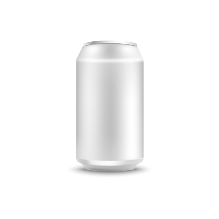 Blank aluminum can mockup for soda or beer in realistic 3d style - isolated vector illustration of side view on empty white metallic pack for alcohol or fizzy sweet drink branding and promotion. Çizim