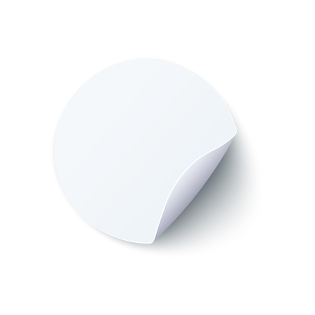 Round blank white paper sticker with peel off corner in realistic style isolated on white background. Vector illustration of mock up of beige circle adhesive curled paper label. 일러스트