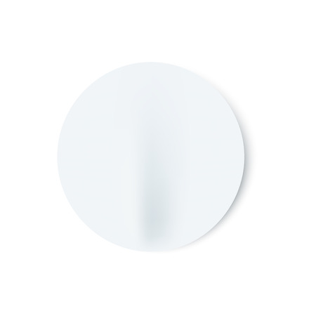 Vector illustration of badly glued white blank round stick in realistic style - mock up of circle adhesive paper sheet, empty emblem template isolated on white background.