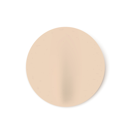 Vector illustration of badly glued beige blank round stick in realistic style. Mock up of circle adhesive paper sheet - empty emblem template isolated on white background. Иллюстрация