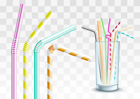 Vector plastic straw in glass cup set. Colorful twisted flexible straws for party cocktails. Colored pipes for alcohol or soft drinks. Transparent background illustration