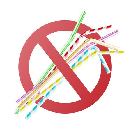 Vector no al concepto de pajitas de plástico con coloridas pajitas de cóctel en círculo rojo cruzado. Prohibición de contaminación ambiental, prohibido que la basura desechable no se pueda reciclar.