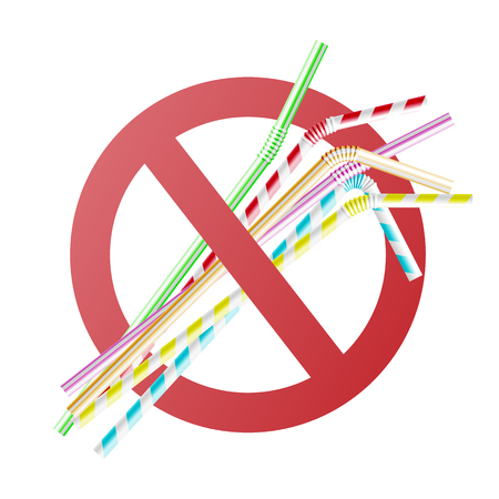 Vector no to plastic straws concept with colorful cocktail straws in red crossed circle. Environment pollustion prohibition, forbidden of disposable garbage cant be recycled. Фото со стока - 114033197