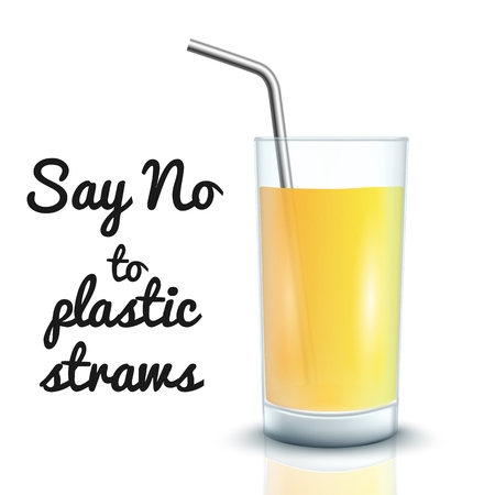 Vector no to plastic straws concept with cocktail straws in glass cup with orange or lemon juice. Environment pollustion prohibition, forbidden of disposable garbage cant be recycled.