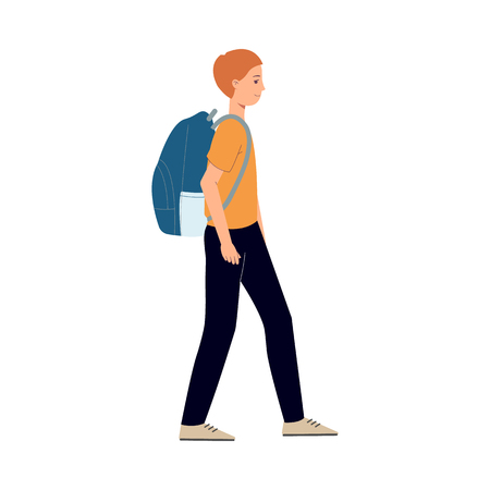 Young man hiker in summer clothing walking with route map big backpack. Happy male character, traveller, tourist going to vacation. Vector illustration