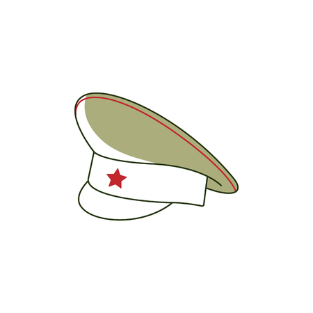 Vector 23 of february, Russian Defender of the Fatherland Day symbol icons peakless milirary cap with red star. National defence organisations holiday. Isolated illustration