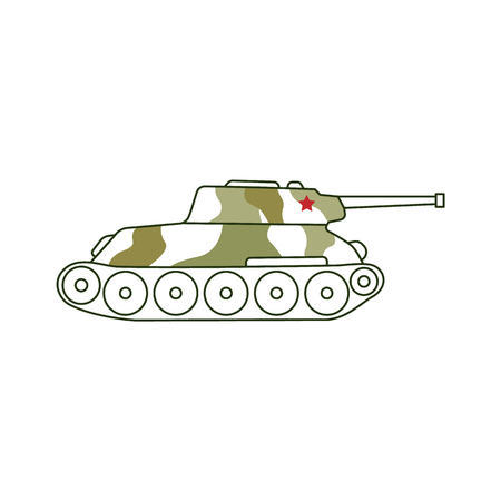 Vector armoured camouflage tank icon. 23th of february, Russian Defender of the Fatherland Day symbol. military heavy truck for land buttles. Isolated illustration Illustration