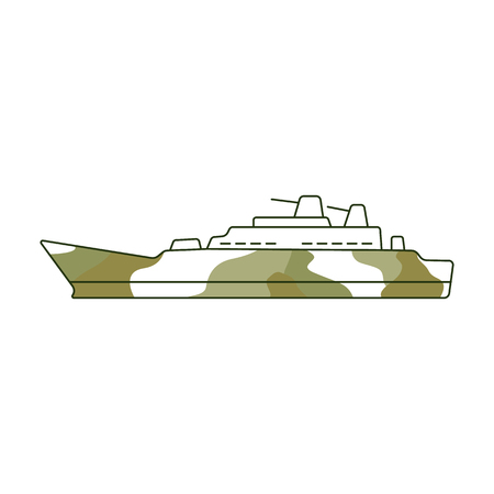 Vector armoured camouflage warship icon. 23th of february, Russian Defender of the Fatherland Day symbol. military heavy nautical battleship. Isolated illustration Stock Illustratie