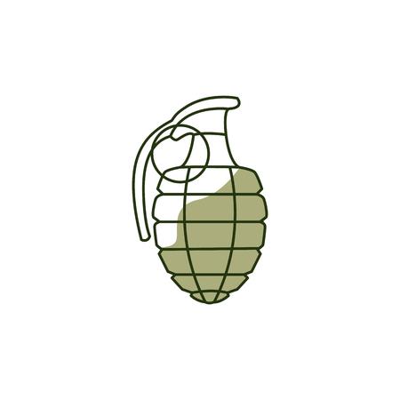 Icône de bombe grenade à main de vecteur. 23 février, symbole de la fête du défenseur russe de la patrie. Arme explosive des soldats de l'armée. Illustration isolée