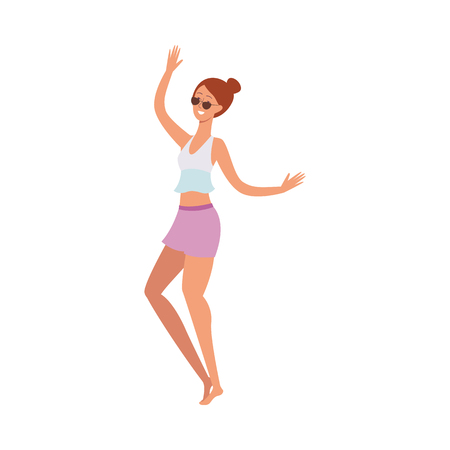 vector cartoon cute brunette, beautiful young adult woman, girl dancing at beach party in summer shorts, sunglasses on vacation. Isolated illustration Standard-Bild - 114046539