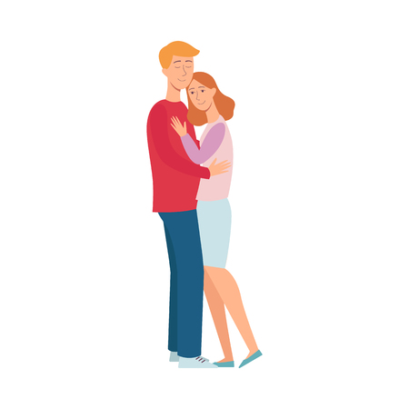 Vector happy young couple hugging with smiling facial expression. Romantic male, female characters and concept of love and care. Valentines day man, woman icon. Isolated illustration Stock Illustratie
