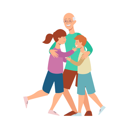 Vector flat family hugging concept. Elderly senior grandfather hugging boy and girl kids smiling. Male grey-haired and teen female characters. Isolated illustration, white background.