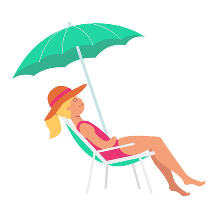 Vector beautiful woman sunbathing lying at lounger under sum umbrella at summer vacation on seashore resort. Female character in swimsuit and hat at sea holiday. Isolated illustration Illustration