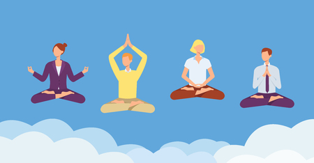 Vector people nirvana concept. Women, men in casual and corporate outfit sitting in lotus posture practicing yoga in sky. Concept of meditation, healthy lifestyle. Isolated illustration Illustration