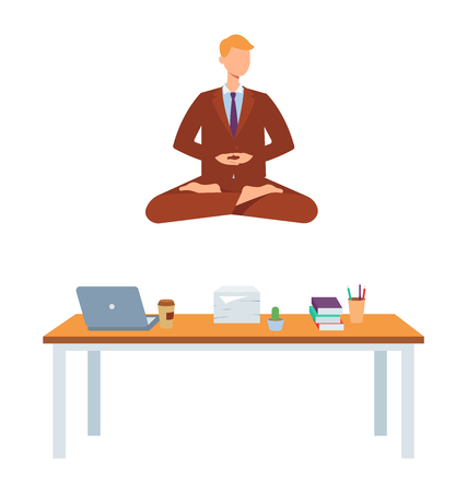 Vector man in corporate outfit, suit sitting in lotus posture practicing yoga above office workplace with laptop. Male character at relaxation session. Concept of meditation, healthy lifestyle.