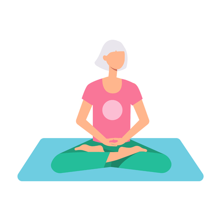 Vector beautiful blonde woman sitting in lotus posture practicing yoga. Female character at relaxation session. Concept of meditation, healthy lifestyle. Isolated illustration Banco de Imagens - 114046566