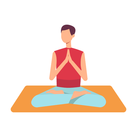 Vector man in casual outfit sitting in lotus posture practicing yoga. Male character at relaxation session. Concept of meditation, healthy lifestyle. Isolated illustration Çizim