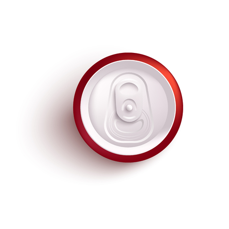 Top view of red aluminum can mockup for alcohol or fizzy drink in realistic 3d style isolated on white background - vector illustration of tin for soda or beer branding and promotion.