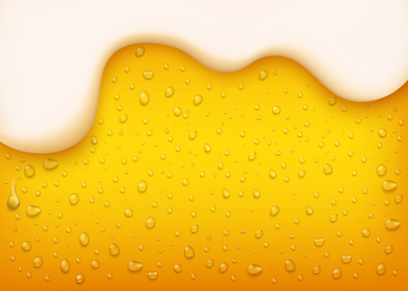 vector lager beer background. Yellow beverage with water bubbles and white thick foam. Alcohol refreshing drink backdrop for brewery packaging design.