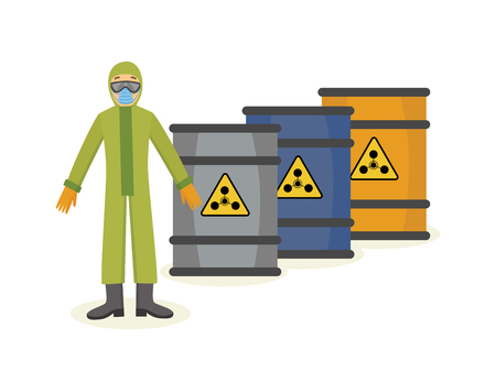 Vector man worker in protective uniform equipment near radiation container. clothing for work in contaminated dangerous areas, dirty chemical manufacturing. Industrial safety wear on male character