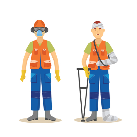 Vector safety first concept with man worker in protective uniform and equipment and man without with injuries on crutches. Vlothing for work in contaminated, dangerous areas preventing harmful effects